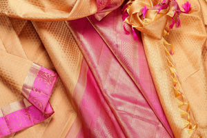 Yellow and pink in pure silk yarn kanjivaram saree