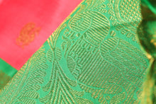 Load image into Gallery viewer, zari motif of peach and green kanjivaram pure silk saree
