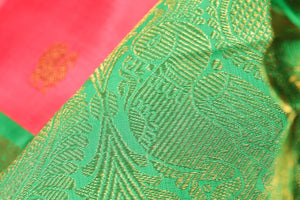 zari motif of peach and green kanjivaram pure silk saree