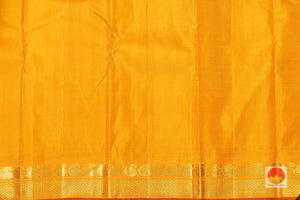 yellow silk blouse of temple border kanjivaram silk saree