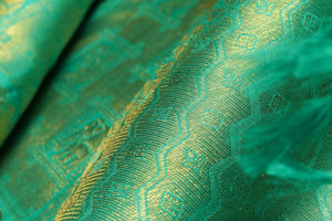 zari detail of  traditional design GREEN bridal kanjivaram pure silk sari