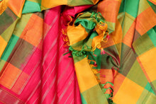 Multi coloured checks in pure silk kanjivaram saree