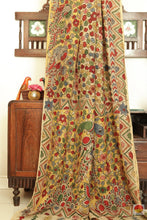 body, border and pallu detail in Kalamkari saree