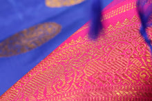 zari detail of  traditional design blue kanjivaram pure silk sari