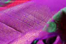 Load image into Gallery viewer, fabric detail of purple silk yarn