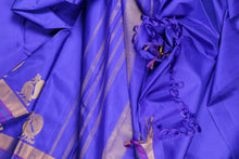 drape of blue traditional design kanjivaram silk saree