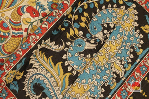 Handpainted Kalamkari Silk Saree - Organic Dyes - PKBD 214 Archives