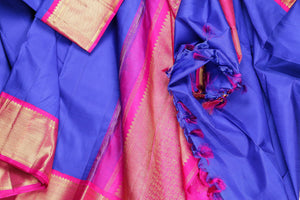drape of blue and pink traditional design kanjivaram pure silk saree