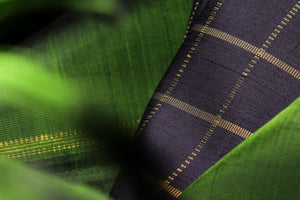 Traditional design in green and black kanjivaram pure silk saree