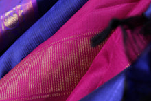 Load image into Gallery viewer, fabric texture of silk in ms blue traditional kanjivaram silk saree