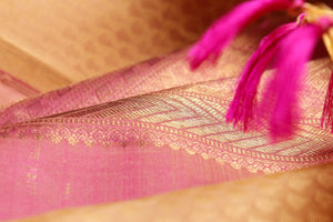 pastel pink border of kanjivaram silk saree
