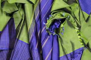 Traditional design kanjivaram silk in green and blue