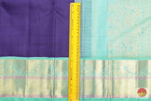 Navy Blue and Teal - Traditional Design Handwoven Pure Silk Kanjivaram Saree - Pure Zari - PV 3548 Archives