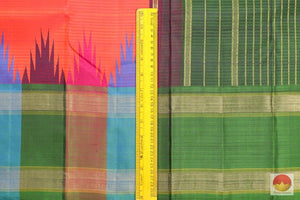 Temple Border Handwoven Pure Silk Kanjivaram Saree - Pure Zari - PV 3692