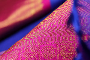 Fabric texture of traditional design kanjivaram pure silk saree