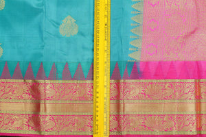 Temple Border Handwoven Pure Silk Kanjivaram Saree - Pure Zari - PVJL 0718 1536 Archives