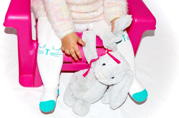 Stinky Bunny little girl fashion tights, baby fashion socks, trendy toddler socks