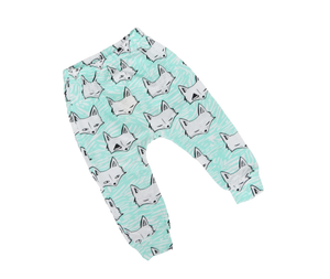 Stinky Bunny cute fox pants for kids, toddler harem pants, toddler fashion bottoms, baby fashion pants