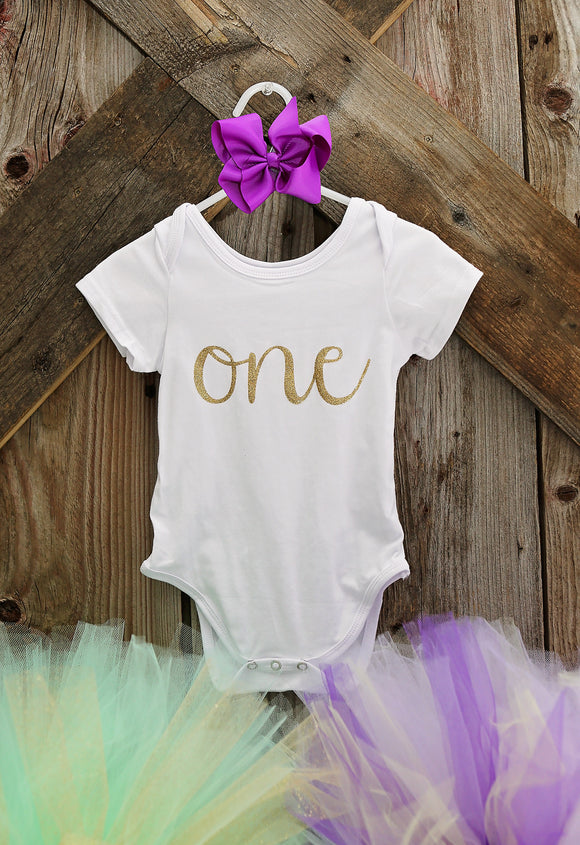 Custom 1st Birthday ONEsie (you choose glitter colour)-Onesies-[Calgary]-[Alberta]-[Canada]-[Affordable Children's Clothing]-Stinky Bunny