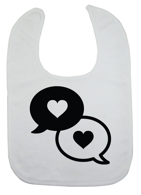 Custom Bib - Chatty Love (you choose design colour)