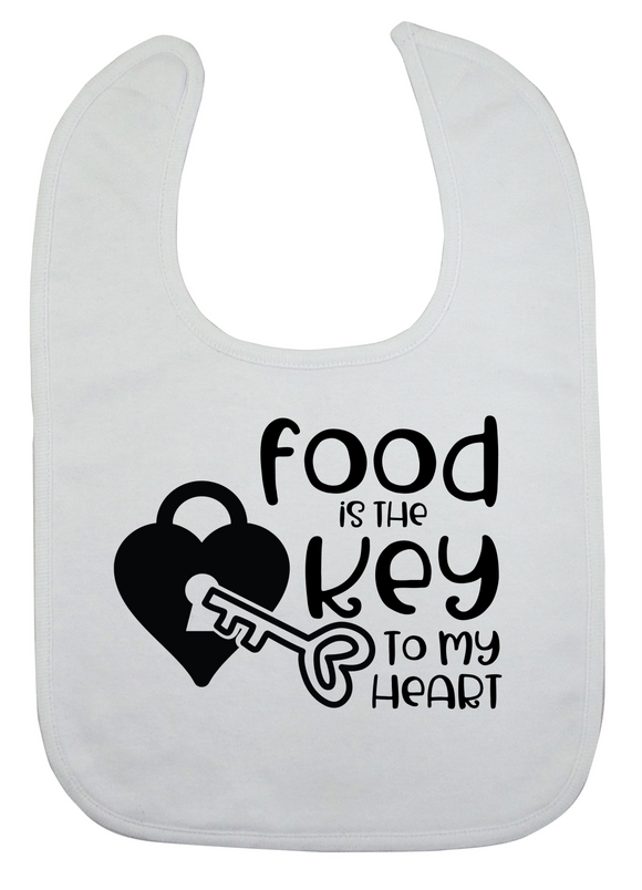 Custom Bib - Key To My Heart (you choose design colour)