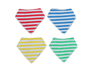 Primary Love - Set of 4 Bandana Bibs | Stinky Bunny baby bandana bibs, cute baby bibs, trendy infant bibs