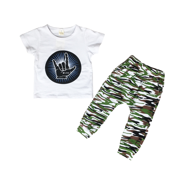 Camo Love Outfit Sets | Stinky Bunny cute kids outfit sets, affordable kids fashion outfits, matched outfits for toddlers