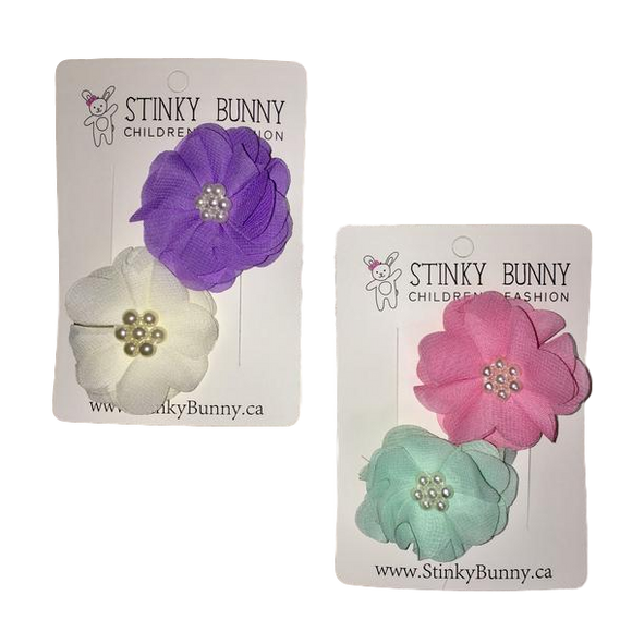 Chiffon & Glam - Soft - 2 pack Hair Clips | Stinky Bunny baby fashion hair clips, trendy toddler hair clips