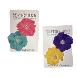 Chiffon & Glam - Bold - 2 pack Hair Clips | Stinky Bunny baby fashion hair clips, trendy toddler hair clips