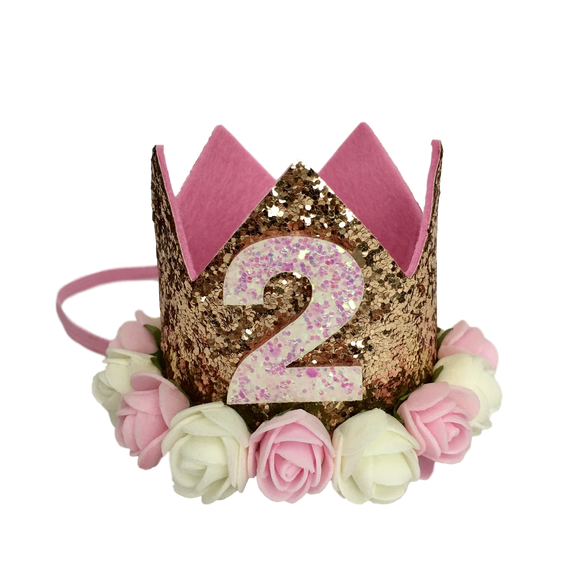 Glitter Glam 2nd Birthday Crowns (2 colours available)-Headbands-[Calgary]-[Alberta]-[Canada]-[Affordable Children's Clothing]-Stinky Bunny