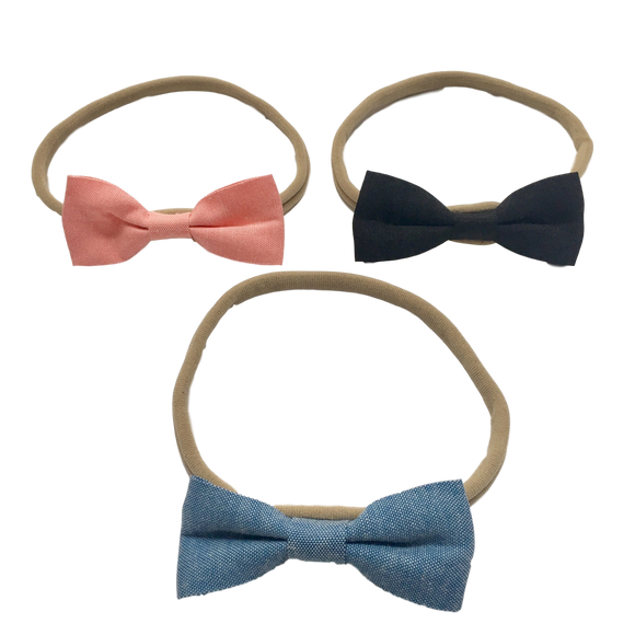 Denim Bow Love Headbands | Stinky Bunny fashion headbands for toddlers, affordable infant headbands, cute kids headbands