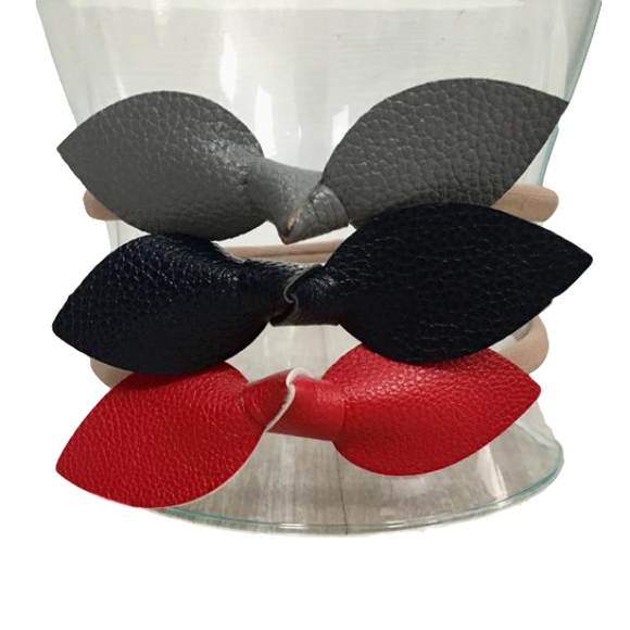 Leather Leaf Bows - 3-Pack-Headbands-[Calgary]-[Alberta]-[Canada]-[Affordable Children's Clothing]-Stinky Bunny