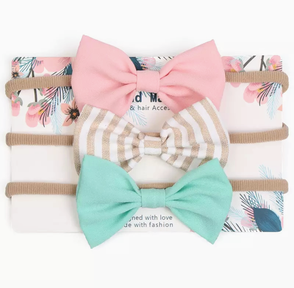 Bow Sweet - Pink & Mint - Set of 3-Headbands-[Calgary]-[Alberta]-[Canada]-[Affordable Children's Clothing]-Stinky Bunny
