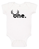 Custom 1st Birthday Antler ONEsie (you choose design colour)-Onesies-[Calgary]-[Alberta]-[Canada]-[Affordable Children's Clothing]-Stinky Bunny