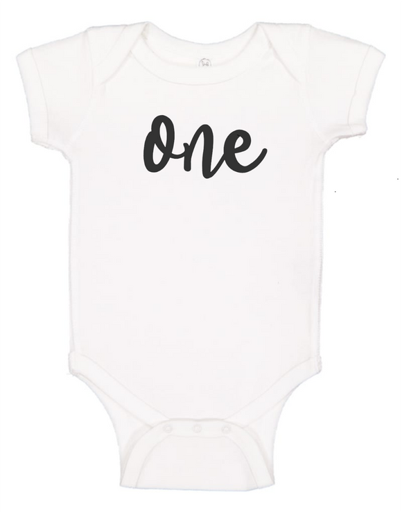Custom 1st Birthday ONEsie (you choose design colour)-Onesies-[Calgary]-[Alberta]-[Canada]-[Affordable Children's Clothing]-Stinky Bunny