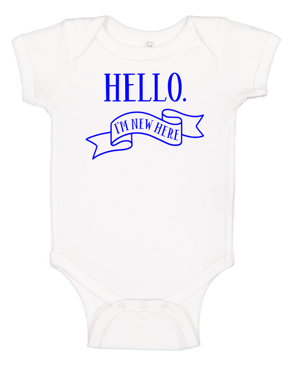Custom Onesie - Hello, I'm New Here (you choose design colour)-Onesies-[Calgary]-[Alberta]-[Canada]-[Affordable Children's Clothing]-Stinky Bunny