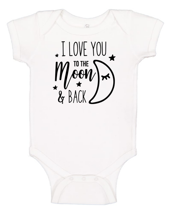 Custom Onesie - I Love You to the Moon (you choose design colour)-Onesies-[Calgary]-[Alberta]-[Canada]-[Affordable Children's Clothing]-Stinky Bunny