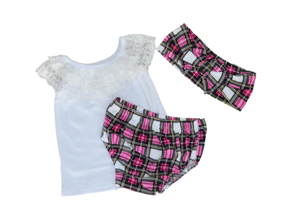 Pretty in Plaid Outfit Sets | Stinky Bunny cute kids outfit sets, affordable kids fashion outfits, matched outfits for toddlers