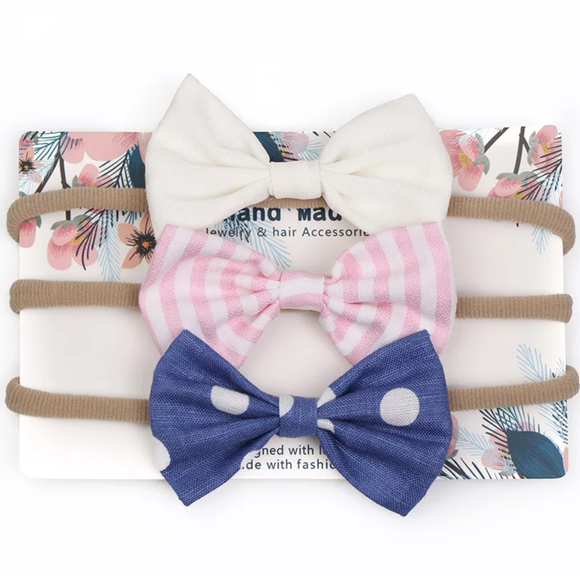 Bow Sweet - Navy & Cream - Set of 3
