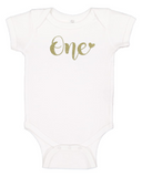 Custom 1st Birthday ONEsie with Heart (you choose glitter colour)-Onesies-[Calgary]-[Alberta]-[Canada]-[Affordable Children's Clothing]-Stinky Bunny