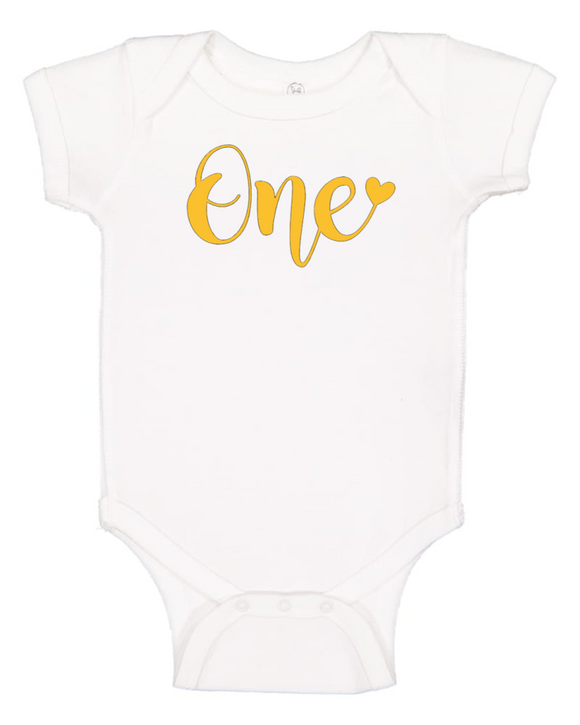 Custom 1st Birthday ONEsie with Heart (you choose design colour)-Onesies-[Calgary]-[Alberta]-[Canada]-[Affordable Children's Clothing]-Stinky Bunny