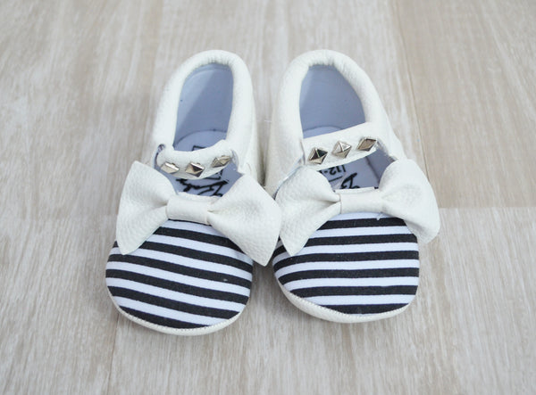 Studded Bow Moccasins (various colours & patterns) Footwear | Stinky Bunny Affordable Trendy Toddler Fashion