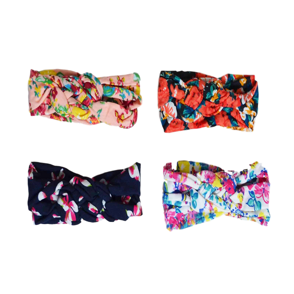 Twisted Floral Turban Headbands-Headbands-[Calgary]-[Alberta]-[Canada]-[Affordable Children's Clothing]-Stinky Bunny