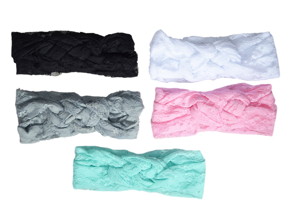 Twisted Lace Turban Headband-Headbands-[Calgary]-[Alberta]-[Canada]-[Affordable Children's Clothing]-Stinky Bunny