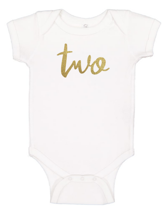 Custom 2nd Birthday TWOsie (you choose glitter colour)-Onesies-[Calgary]-[Alberta]-[Canada]-[Affordable Children's Clothing]-Stinky Bunny