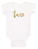 Custom 2nd Birthday TWOsie (you choose glitter colour)