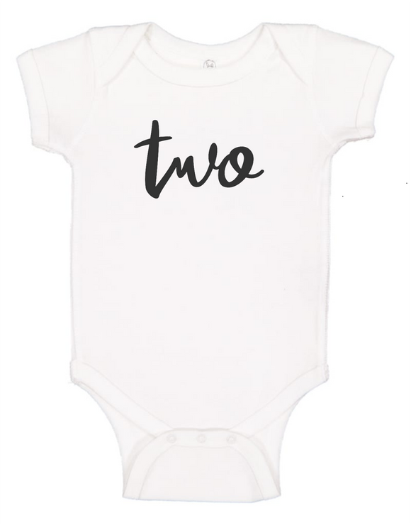 Custom 2nd Birthday TWOsie (you choose design colour)-Onesies-[Calgary]-[Alberta]-[Canada]-[Affordable Children's Clothing]-Stinky Bunny