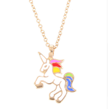 Gold toned unicorn necklace