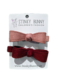 Faux Suede Bows - Set of 2-Hair Clips-[Calgary]-[Alberta]-[Canada]-[Affordable Children's Clothing]-Stinky Bunny