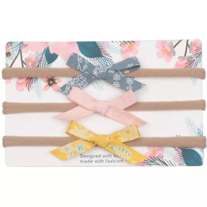 Bow Sweet Minis - Grey & Yellow - Set of 3-Headbands-[Calgary]-[Alberta]-[Canada]-[Affordable Children's Clothing]-Stinky Bunny